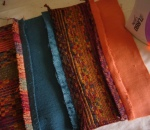 Sew fabric pieces for draught excluder together