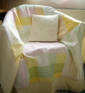 Patchwork Throw on a Lloyd Loom Chair