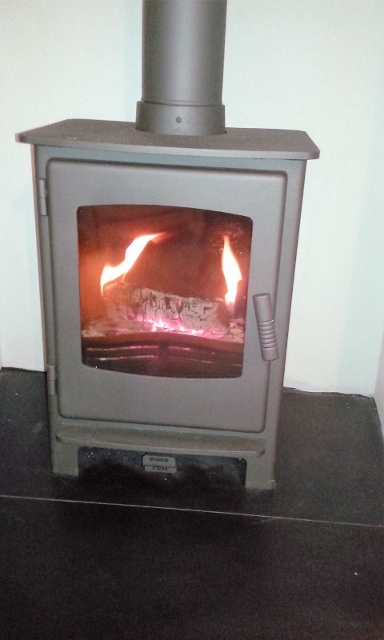 log burner in gunmetal grey